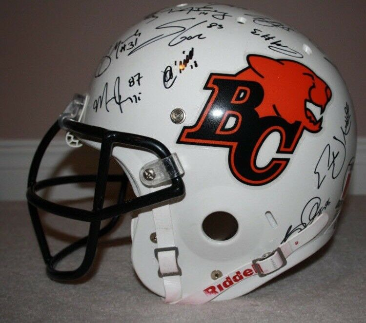 BC Lions CFL Team Autographed Football Helmet Riddell  1eef5a6e1