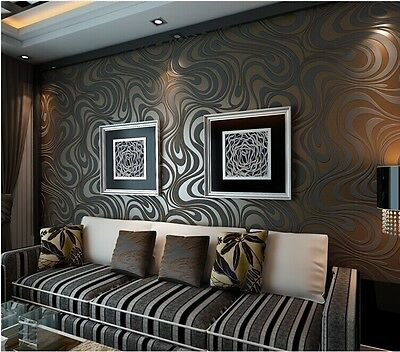 3D Abstract Curve Luxury Flocking Striped Wallpaper Black&Brown 0.7m*8.4m=5.88㎡