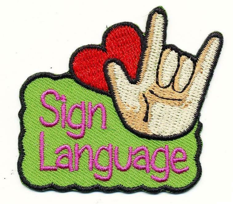 Girl Boy Cub SIGN LANGUAGE love Fun Patches Crests Badges SCOUT GUIDE Signing