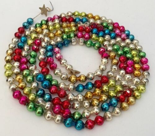 Vtg CHRISTMAS GARLAND Mercury Glass Multicolor 3/4 Inch Double Beads 7 Ft 3 Inch