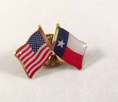 USA and TEXAS Crossed Friendship Flag Lapel Pin **MADE IN USA** - Cross Pins