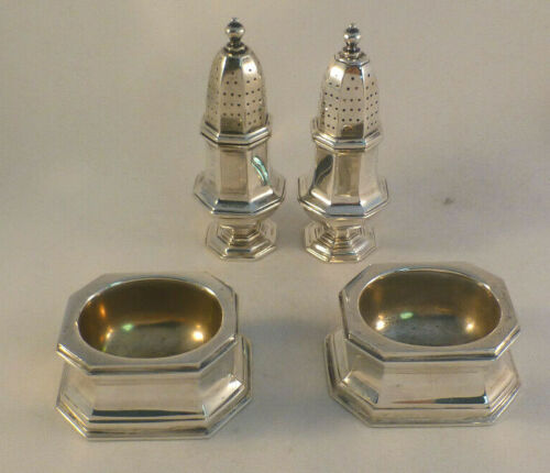 4pc Cartier Sterling Open Salt & Pepper Shaker Set-Heavy