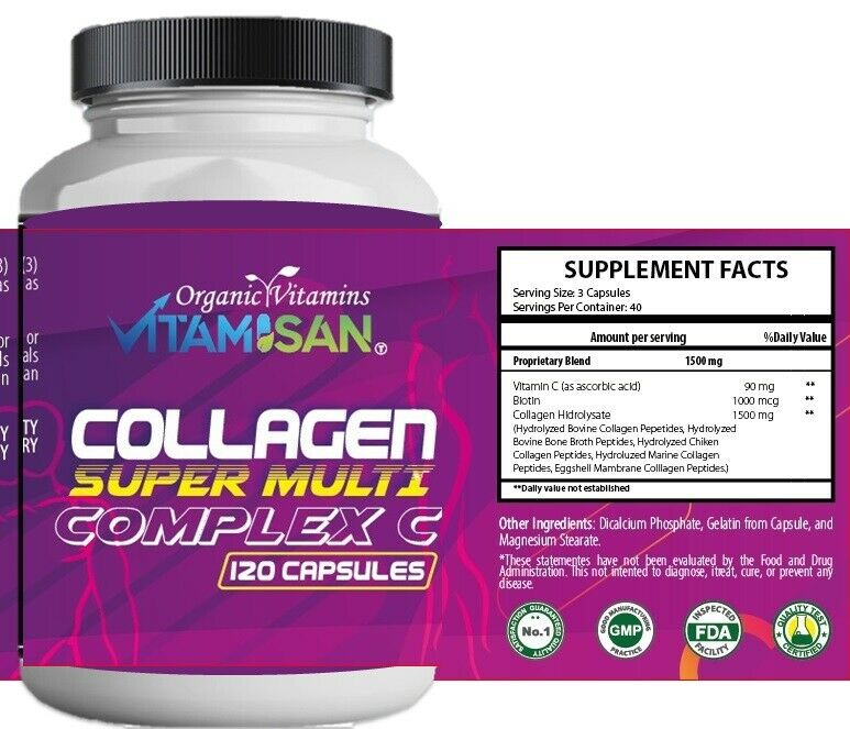 Premium Collagen Peptides 1500 MG Hydrolyzed Anti-Aging (Types I,II,III,V,X) 120 2