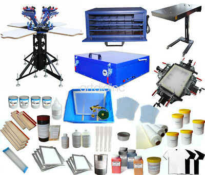 Full Set 4 Color Screen Printing Kit Screen Press Printer Flash Dryer Exposure