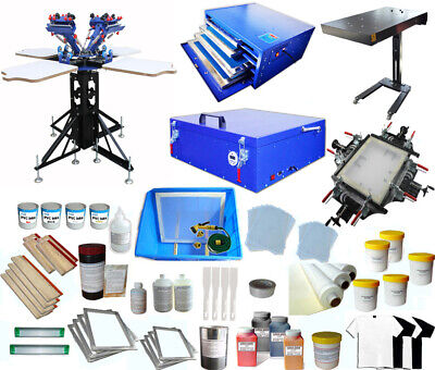 4 Color Full Set Silk Screen Printing Kit Press Printer Flash Dryer Included