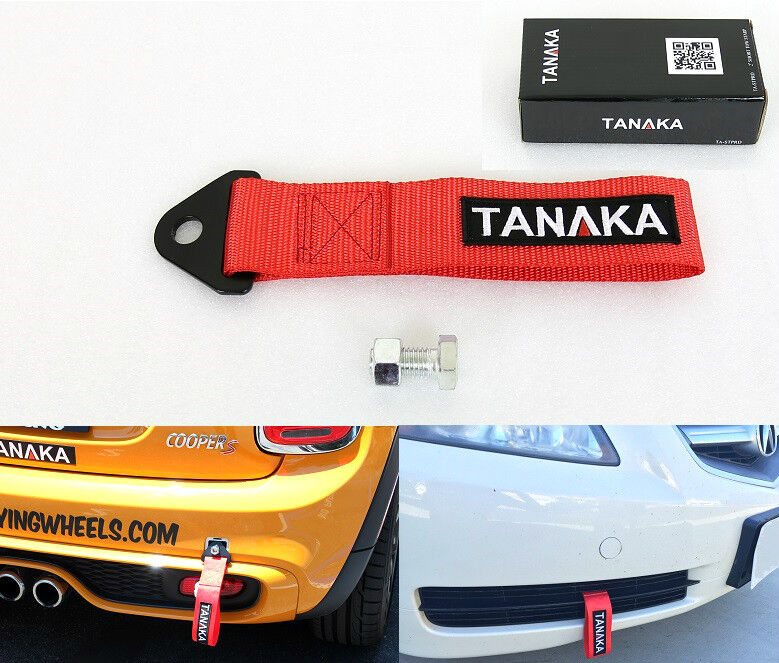 TANAKA HIGH STRENGTH UNIVERSAL RED RACING SPORTS TOW STRAP TOW HOOK