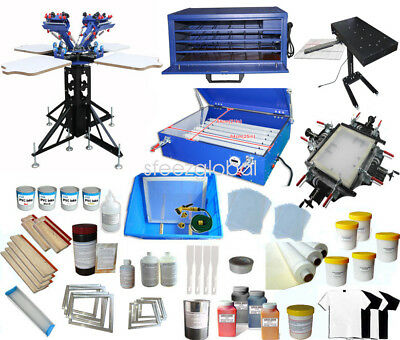 4 Color Full Set Silk Screen Printing Kit Press Printer Flash Dryer Supplies