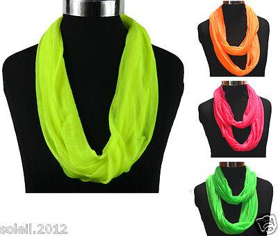 Neu Schal Loop Damen  Neon   Farbwahl  Halstuch Weich Stola Tuch leicht