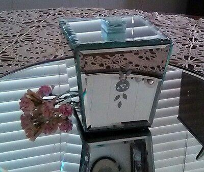 Beveled Etched Mirror Vanity Dresser Jar