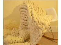Chunky Knit Merino Wool Blanket Throw 36x50 inches. Many Colours Available.
