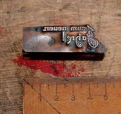 ZUM NEUEN JAHR  Kupferdruckstock Galvano Druckstock Klischee Drucker Druckplatte