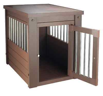 Small Breed Dog Kennel Bed End Table Indoor Cage Crate Pet Brown Puppy