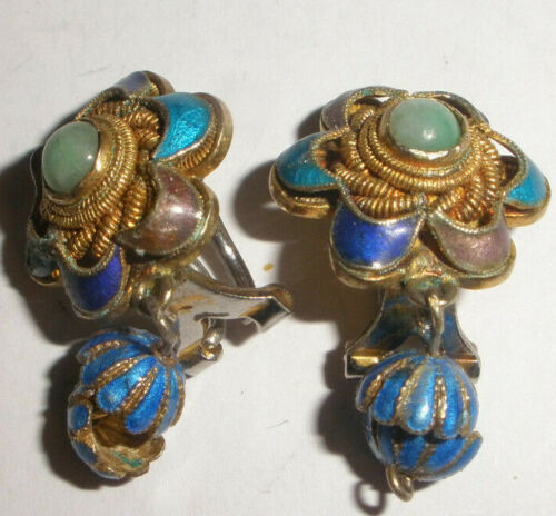 Antique Chinese 19thc Silver jade enamel clip on drop earrings