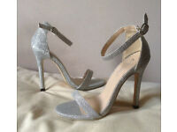 Brand New Size 2 - 3 Silver High Heel Shoes