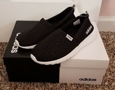 premium selection c7f55 7a064 NWB ADIDAS WOMENS NEO CLOUDFOAM LITE RACER BLACK WHITE SLIP ON SHOES SIZE  7.5