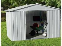 10x13ft New Yardmaster Silver Metal Apex Shed