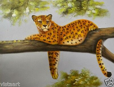 Oil Painting On Stretched Canvas 12X16    Cheetah Laying On Tree