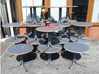 Around 30 Available Round Cafe Catering Coffee Tables with Metal Legs UK Delivery