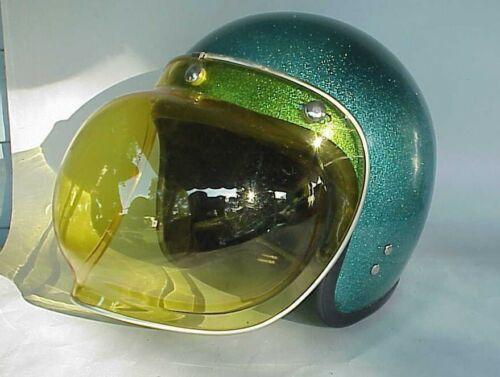 VERY Vintage 1968ish? Green Metallic Motorcycle Helmet. Large