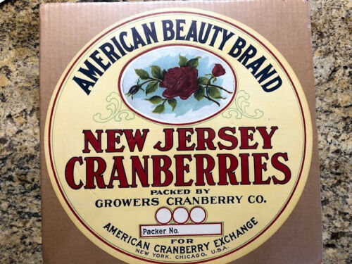 New Jersey Cranberry fruit crate label - large