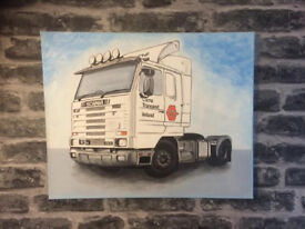 Scania Lorry original hand painted art. Irish Lorry Truck collectible painting by J.McKenna