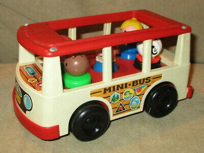 Vintage Fisher Price Little People Van Mini Bus with People Figures 141 - 1969