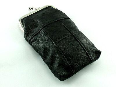 (Black Leather Cigarette Case Purse Pack Holder Pouch with Lighter Holder)
