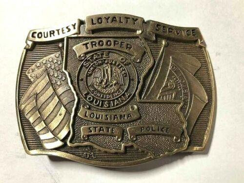Louisiana State Trooper Solid Brass Belt Buckle - Award Design Medals