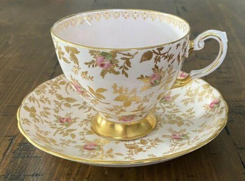 Tuscan Bone China Teacup Saucer Du Barry Rose Gilt Gold English Pink Sunshine