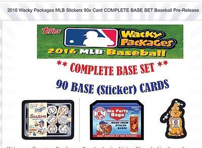2016 TOPPS **WACKY PACKAGES MLB** COMPLETE SET 90 CARDS**BRAND NEW-+BONUS WRAPR*