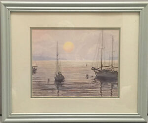 Sailboats Anchored at Dawn Half Tone Print