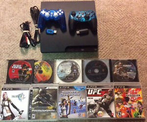 500GB Playstation 3 with 2 Wireless Controllers and 10 Games!