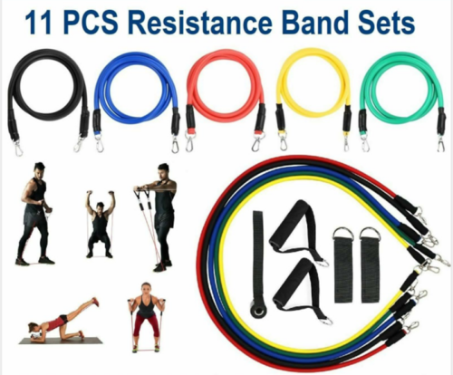 11pcs Resistance Band Exercise Yoga Pilates Abs Fitness Tube Workout Bands CN 1