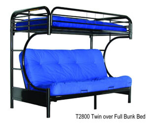 Futon Bunk Bed C-T2800 Black/White Metal $299 Twin over Full