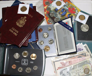 CANADIAN MINT SETS, BANK NOTES, US COINS