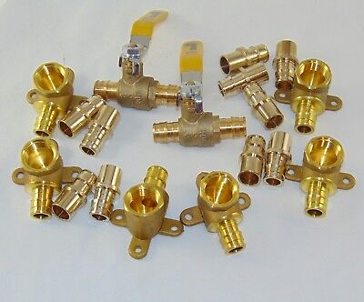 Lot Of 18 - 12 Propex Fittings Adapter -drop Ear Elbows -valve F1960