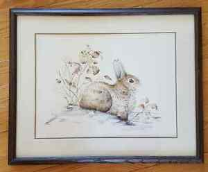 Framed Bunny Painting