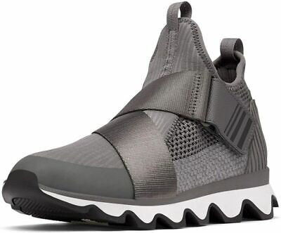 SOREL - Women's Kinetic Sneak, Knit Sneaker with Scalloped Sole and 7, Quarry