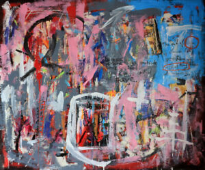 "Contemporary mixed media painting on canvas 50""x60"""