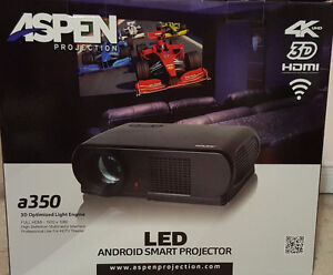 Brand New in Box Aspen a350 Android Smart Projector and Screen