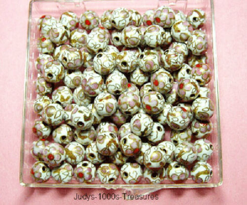 35 CLOISONNE BEADS 8mm. ROUND WHITE WITH PINK FLOWERS