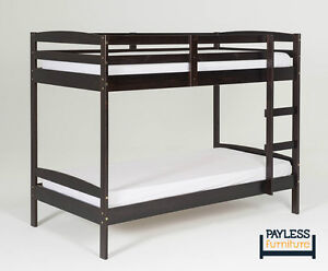 NEW ★ Solid Wood Bunk Bed ★ Can Deliver ★ Wh/Espresso Cambridge Kitchener Area image 3