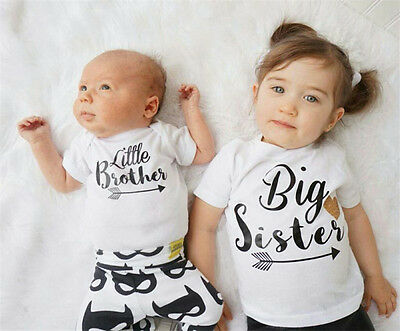 - USA Canis Toddler Kid Baby Big Sister Little Brother Romper Bodysuit T-shirt Top
