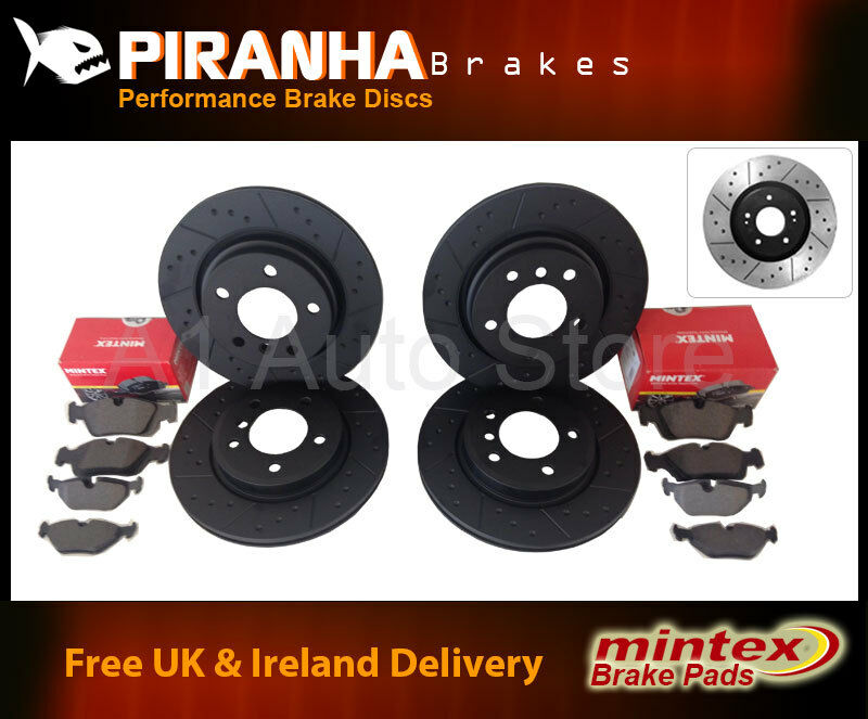 Lexus GS300 03/93-08/97 Front Rear Brake Discs Black Dimpled Grooved+Mintex Pads