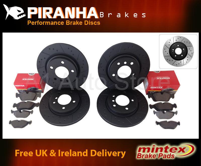 Lexus IS200 04/99-05/05 Front Rear Brake Discs Black Dimpled Grooved+Mintex Pads