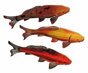 Unique hand crafted 3d metal wall refraxions sculpture set for Koi fish metal art