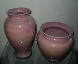 NEW 2 PINK SWIRL DESIGN DECORATIVE VASES HOME DECOR SEARS NWT Cornwall Ontario image 5