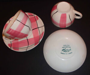 MID CENTURY MODERN 2 cups/saucers CALICO design