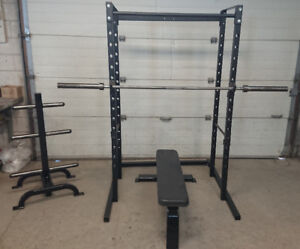 Squat rack pull up bar bench weight tree