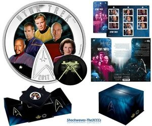 2017 Silver STAR TREK FIVE CAPTAINS Coin & STAR TREK Stamps